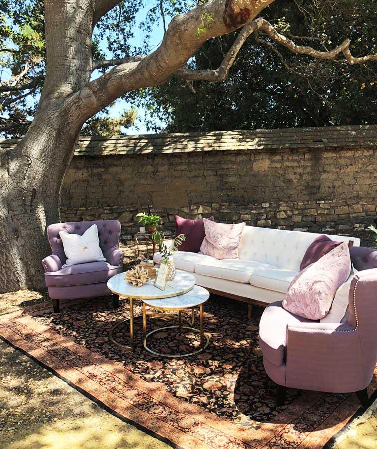 Lounge Area Under Oak Tree at Cooper Molera Barns