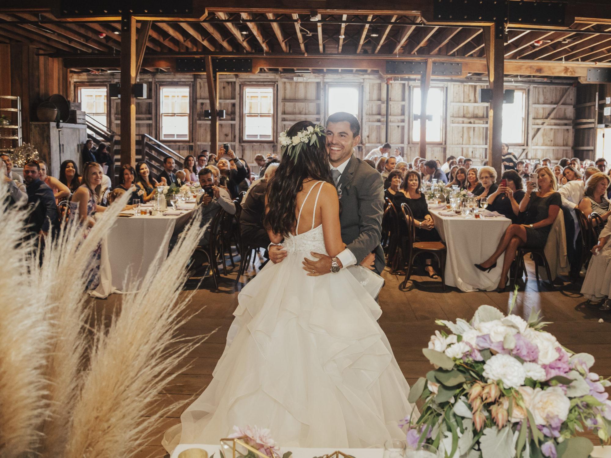 First Wedding Dance inside The Barns at Cooper Molera