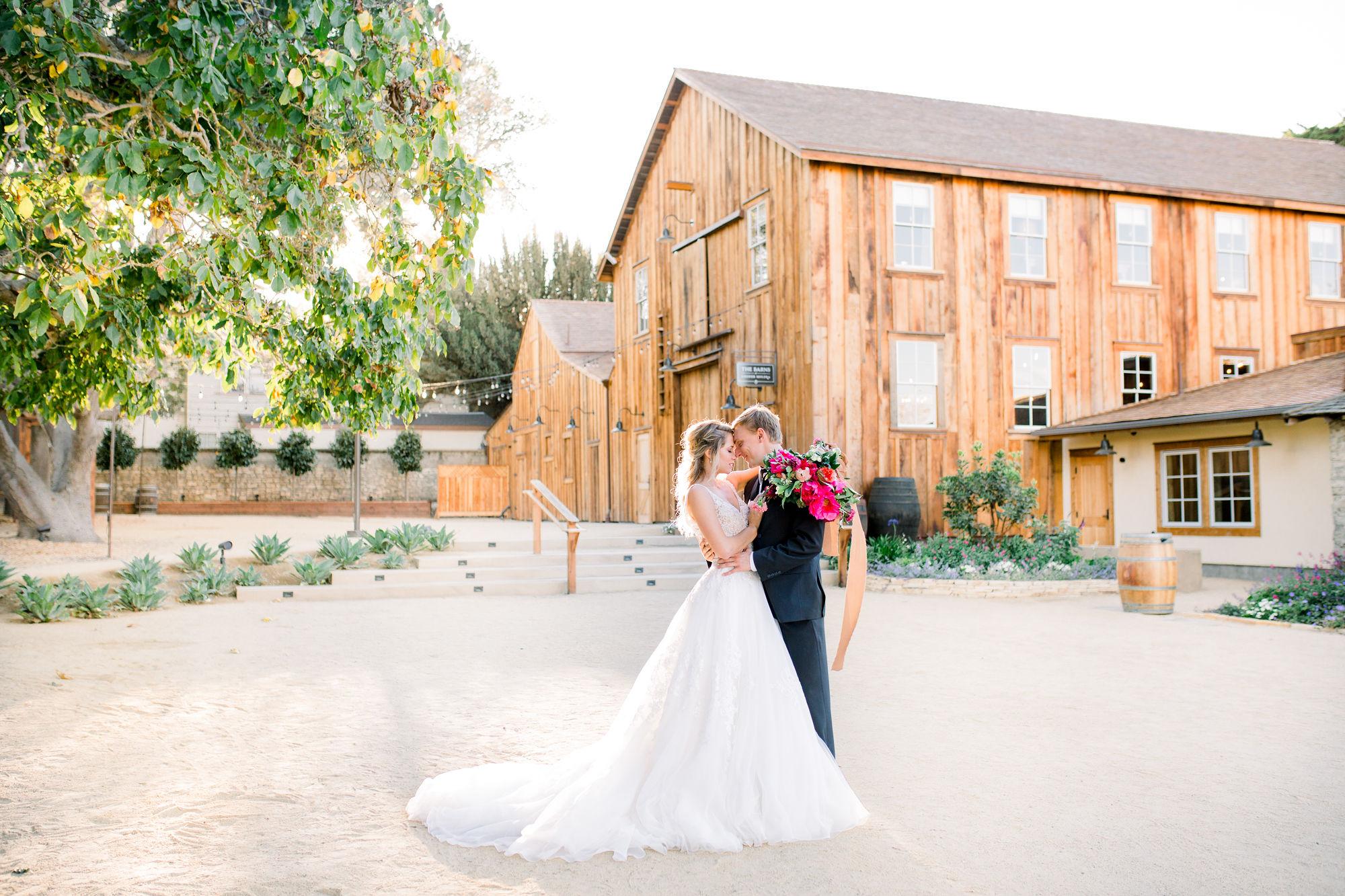 Wedding Couple at Cooper Molera Monterey Barns