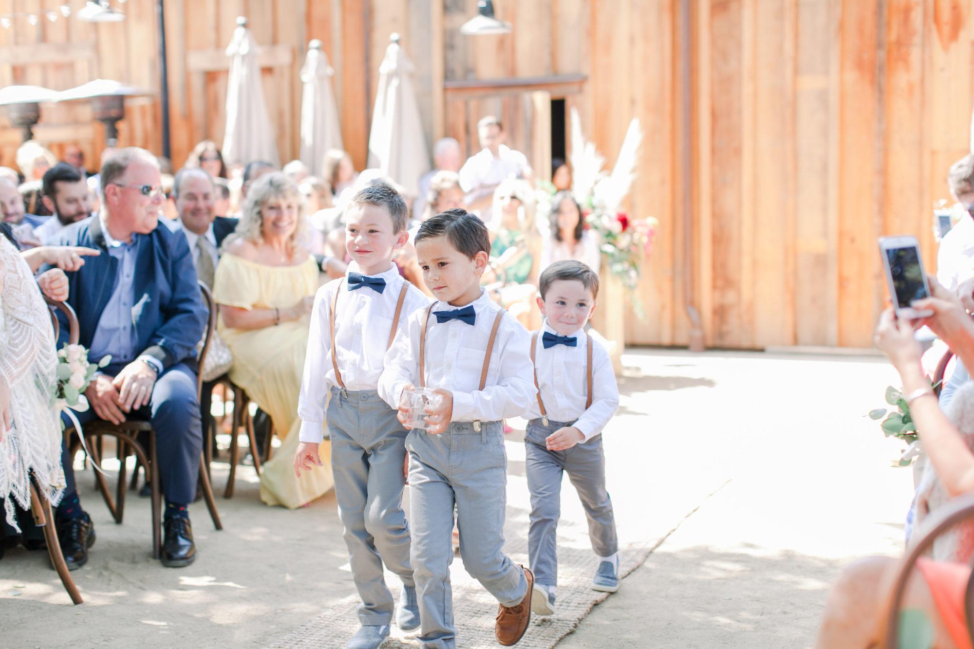 Ring Bearers at Cooper Molera Barns Wedding Reception