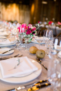 Table Setting for Wedding Reception at The Barns