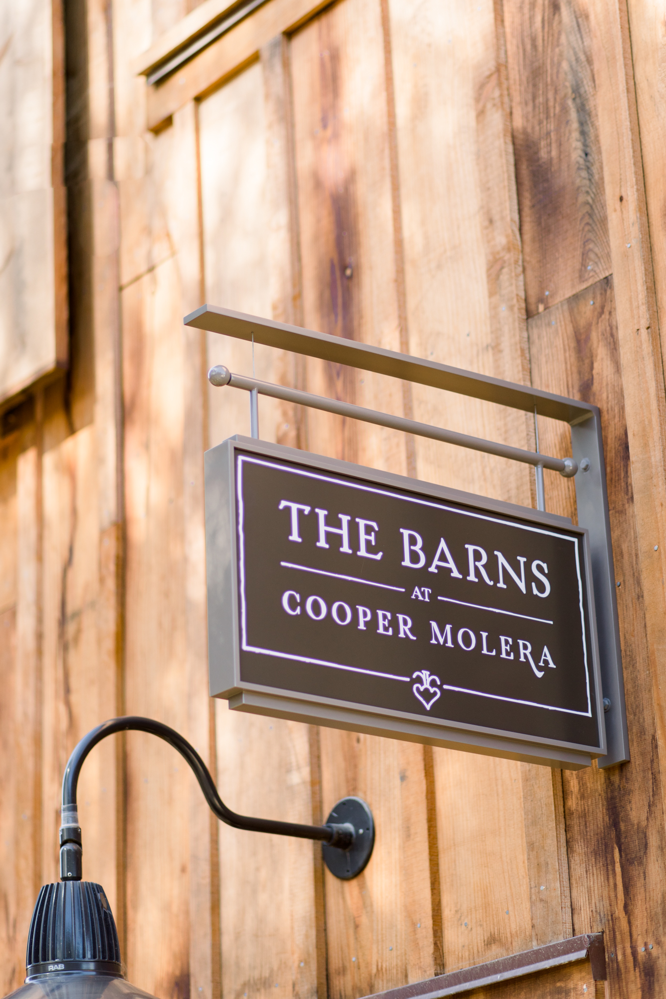 Signage at The Barns Event Center in Monterey
