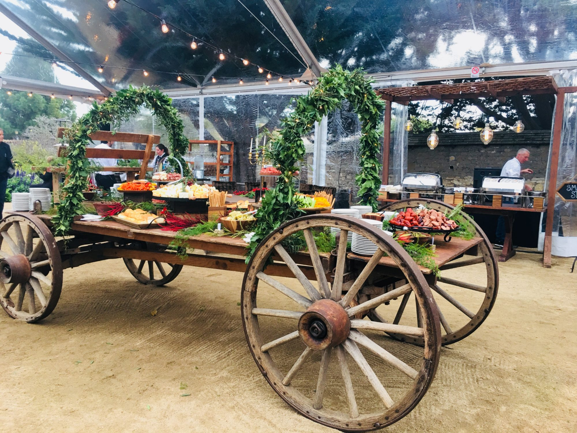 Charcuterie Display on Buckboard Wagon Corporate Event by Classic Catering