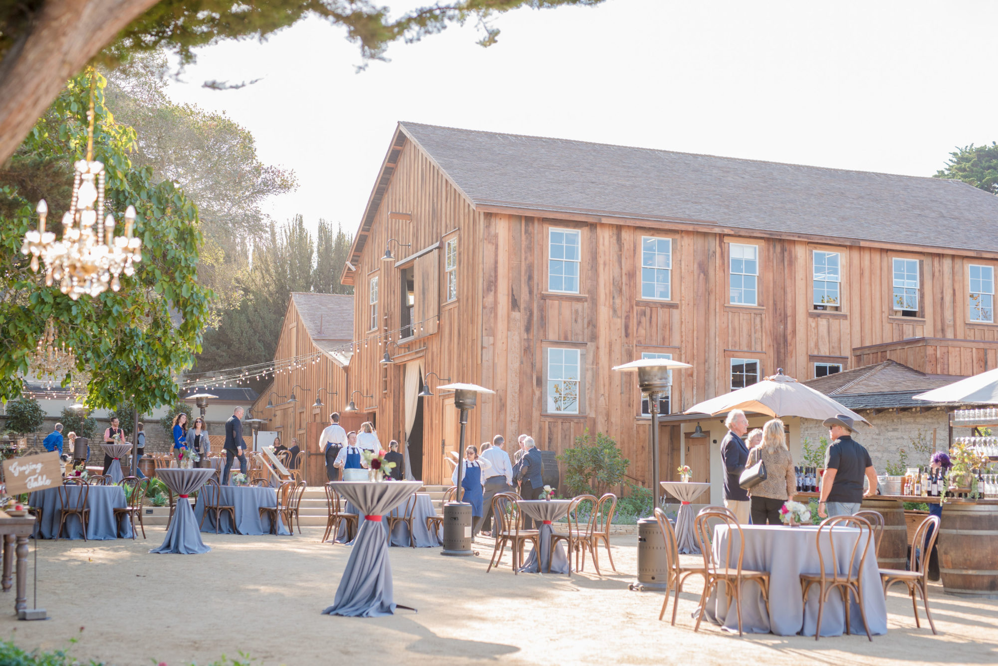 Getting ready for Corporate event at Cooper Molera Barns in Monterey