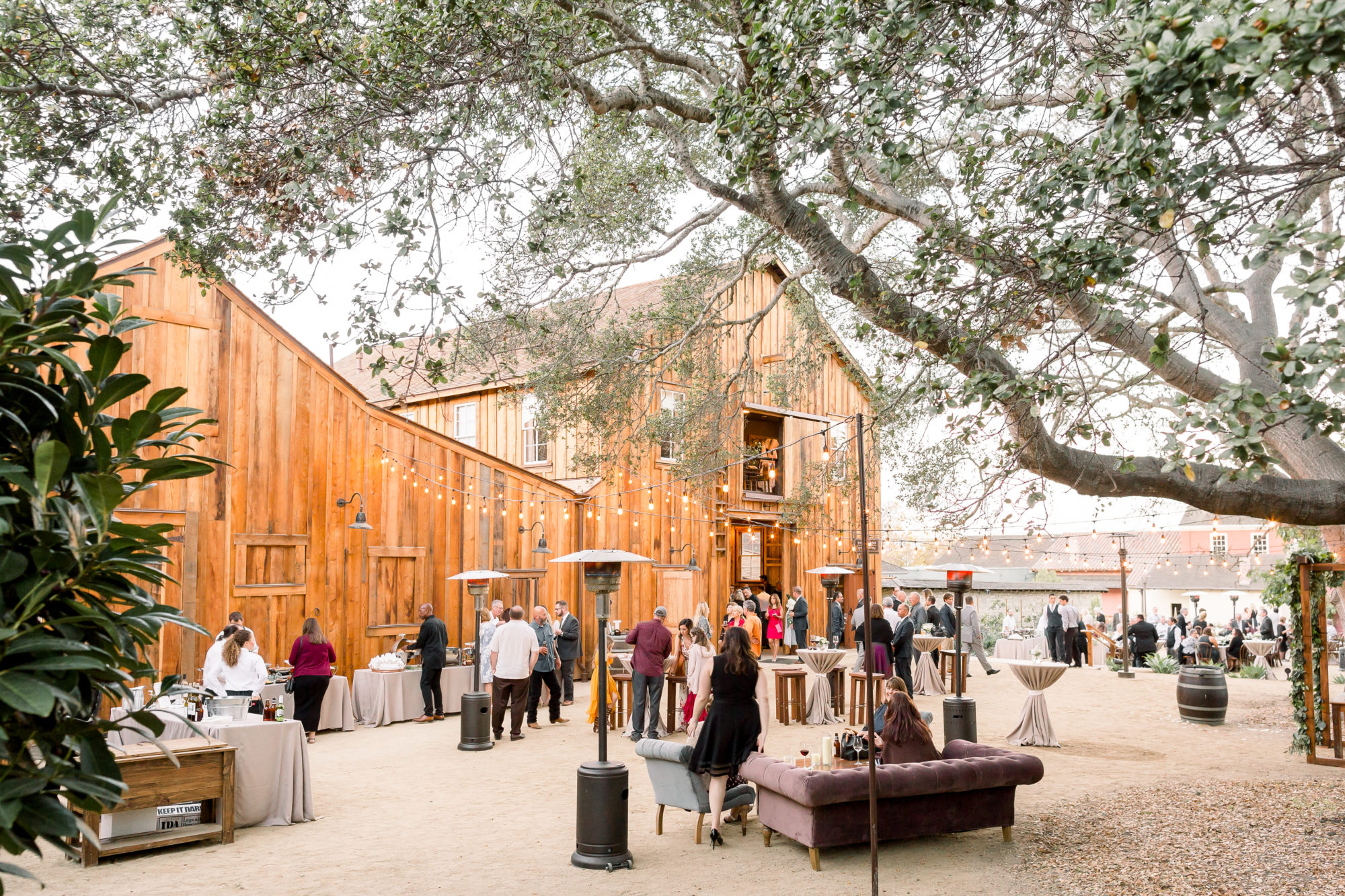 Guests Mingling during Cocktail Hour at Monterey Barns