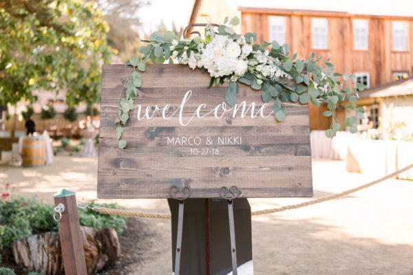Wedding Welcome Sign at The Barns