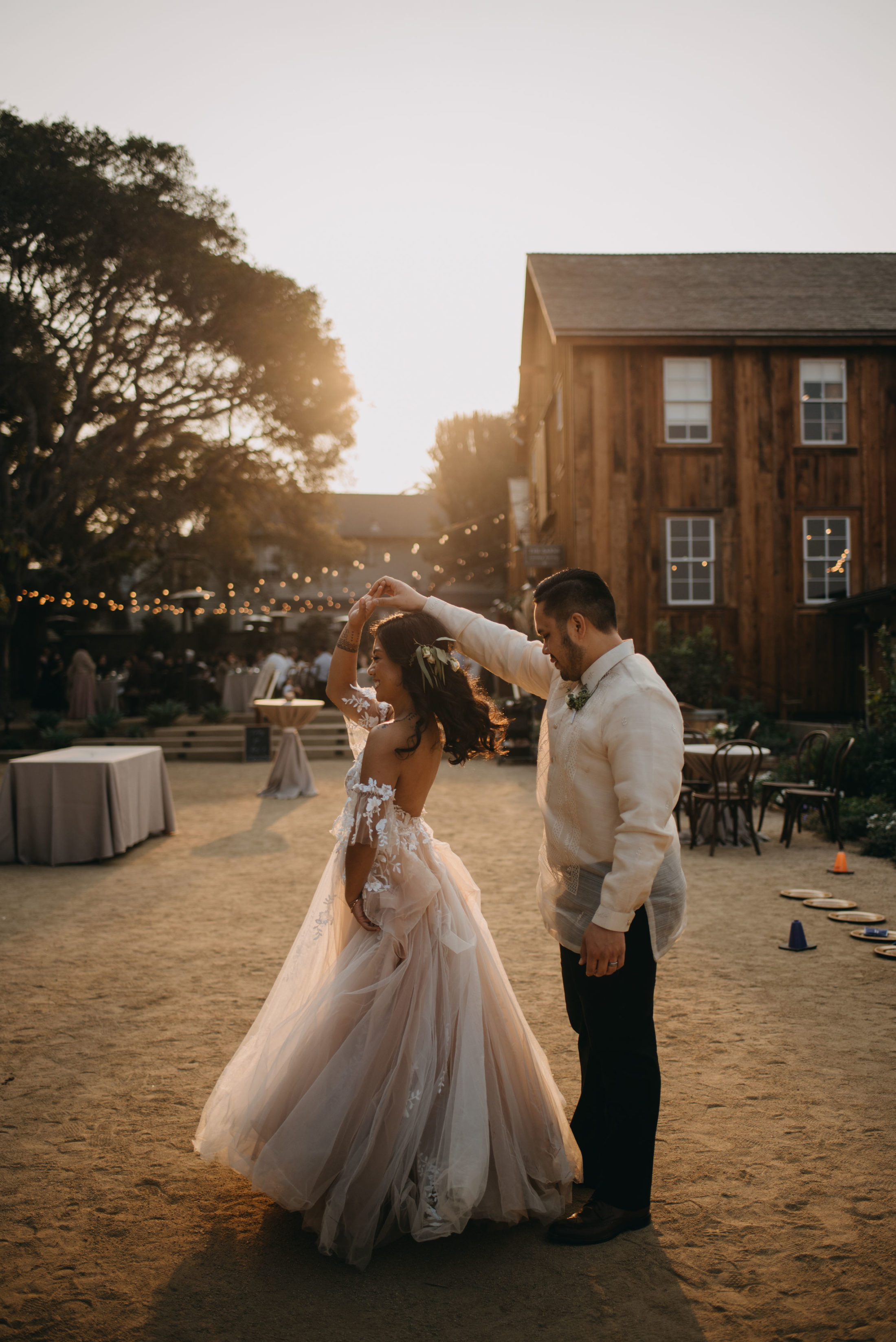 Couple in Front of Barns at Cooper Molera